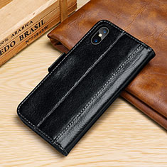 Leather Case Stands Flip Cover P05 Holder for Apple iPhone X Black