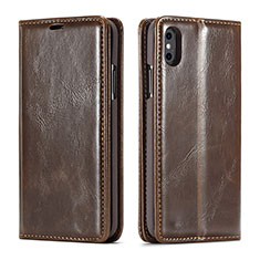 Leather Case Stands Flip Cover T01 Holder for Apple iPhone Xs Max Brown