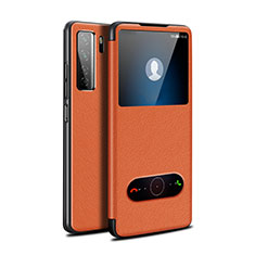 Leather Case Stands Flip Cover T01 Holder for Huawei P40 Lite 5G Orange
