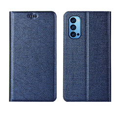 Leather Case Stands Flip Cover T01 Holder for Oppo Reno4 5G Blue
