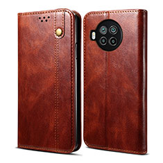 Leather Case Stands Flip Cover T01 Holder for Xiaomi Mi 10T Lite 5G Brown