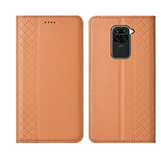 Leather Case Stands Flip Cover T01 Holder for Xiaomi Redmi Note 9 Orange