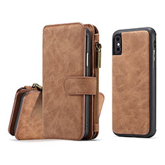 Leather Case Stands Flip Cover T02 Holder for Apple iPhone Xs Max Orange