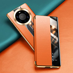 Leather Case Stands Flip Cover T02 Holder for Huawei Mate 40 Pro+ Plus Orange
