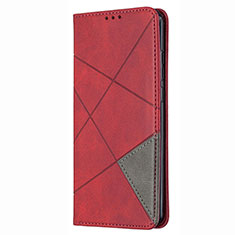 Leather Case Stands Flip Cover T02 Holder for Huawei P Smart (2020) Red
