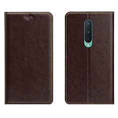Leather Case Stands Flip Cover T02 Holder for OnePlus 8 Brown