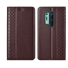 Leather Case Stands Flip Cover T02 Holder for OnePlus 8 Pro Brown