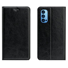 Leather Case Stands Flip Cover T02 Holder for Oppo Reno4 5G Black