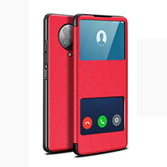 Leather Case Stands Flip Cover T02 Holder for Xiaomi Poco F2 Pro Red