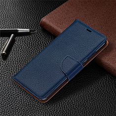 Leather Case Stands Flip Cover T02 Holder for Xiaomi Redmi Note 9 Blue