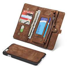 Leather Case Stands Flip Cover T03 Holder for Apple iPhone 6S Plus Brown