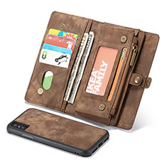 Leather Case Stands Flip Cover T03 Holder for Apple iPhone Xs Brown