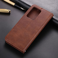 Leather Case Stands Flip Cover T03 Holder for Samsung Galaxy S20 Plus 5G Brown