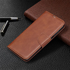 Leather Case Stands Flip Cover T03 Holder for Xiaomi Redmi Note 9 Brown