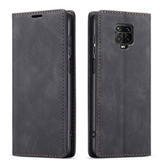 Leather Case Stands Flip Cover T03 Holder for Xiaomi Redmi Note 9 Pro Black