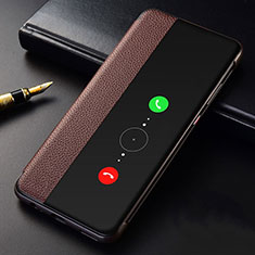 Leather Case Stands Flip Cover T04 Holder for Huawei Mate 30E Pro 5G Brown