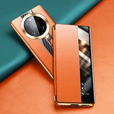 Leather Case Stands Flip Cover T04 Holder for Huawei Mate 40 Pro Orange