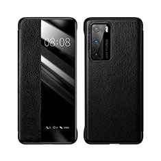 Leather Case Stands Flip Cover T04 Holder for Huawei P40 Black