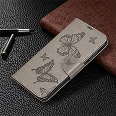 Leather Case Stands Flip Cover T04 Holder for Xiaomi Redmi Note 9 Gray
