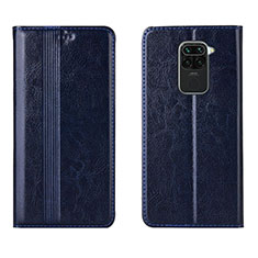 Leather Case Stands Flip Cover T05 Holder for Xiaomi Redmi Note 9 Blue