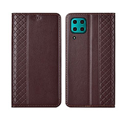 Leather Case Stands Flip Cover T06 Holder for Huawei Nova 7i Brown