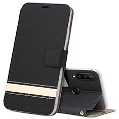 Leather Case Stands Flip Cover T07 Holder for Huawei Nova 4e Black