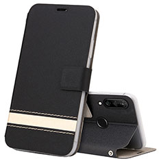 Leather Case Stands Flip Cover T07 Holder for Huawei P30 Lite XL Black