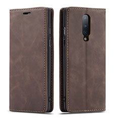 Leather Case Stands Flip Cover T07 Holder for OnePlus 8 Brown