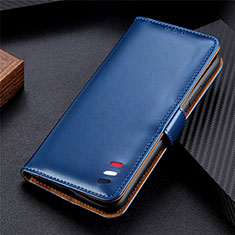 Leather Case Stands Flip Cover T07 Holder for Xiaomi Poco M3 Blue