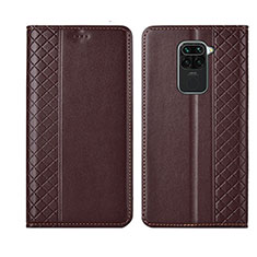 Leather Case Stands Flip Cover T07 Holder for Xiaomi Redmi Note 9 Brown