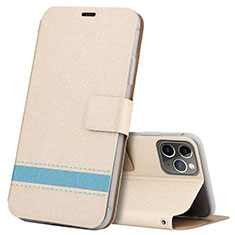Leather Case Stands Flip Cover T08 Holder for Apple iPhone 11 Pro Max Gold