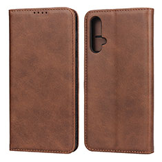 Leather Case Stands Flip Cover T08 Holder for Huawei Nova 5 Brown