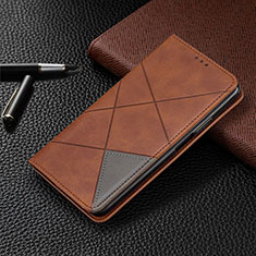 Leather Case Stands Flip Cover T08 Holder for Oppo Reno4 5G Brown