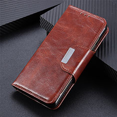 Leather Case Stands Flip Cover T08 Holder for Xiaomi Poco M3 Brown