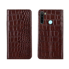 Leather Case Stands Flip Cover T08 Holder for Xiaomi Redmi Note 8 Brown