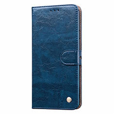 Leather Case Stands Flip Cover T08 Holder for Xiaomi Redmi Note 9 Blue