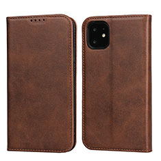 Leather Case Stands Flip Cover T09 Holder for Apple iPhone 11 Brown