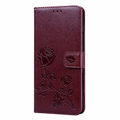 Leather Case Stands Flip Cover T09 Holder for Xiaomi Redmi Note 9 Brown