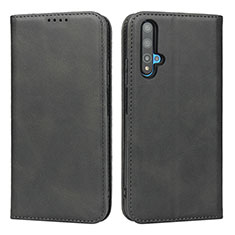 Leather Case Stands Flip Cover T10 Holder for Huawei Honor 20S Black