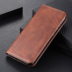 Leather Case Stands Flip Cover T10 Holder for Huawei P Smart (2020) Brown