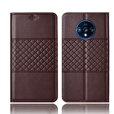 Leather Case Stands Flip Cover T10 Holder for OnePlus 7T Brown