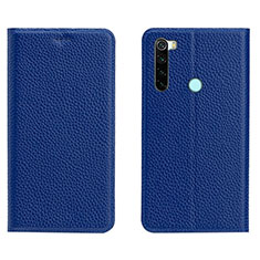 Leather Case Stands Flip Cover T10 Holder for Xiaomi Redmi Note 8 Blue