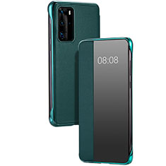 Leather Case Stands Flip Cover T12 Holder for Huawei P40 Pro Green