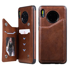 Leather Case Stands Flip Cover T14 Holder for Huawei Mate 30 Pro 5G Brown