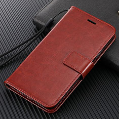 Leather Case Stands Flip Cover T14 Holder for Xiaomi Mi Note 10 Brown
