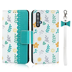 Leather Case Stands Flip Cover T16 Holder for Huawei Nova 5T Cyan