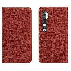 Leather Case Stands Flip Cover T16 Holder for Xiaomi Mi Note 10 Brown