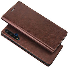 Leather Case Stands Flip Cover T18 Holder for Huawei Nova 5T Brown