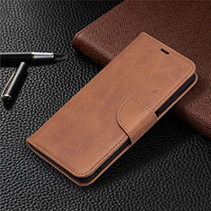 Leather Case Stands Flip Cover T18 Holder for Xiaomi Poco M3 Brown