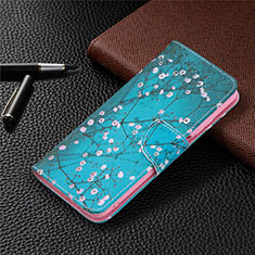 Leather Case Stands Flip Cover T19 Holder for Xiaomi Poco M3 Blue